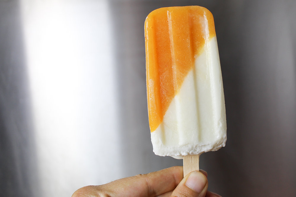 Buttermilk Peach Popsicles via Worthy Pause