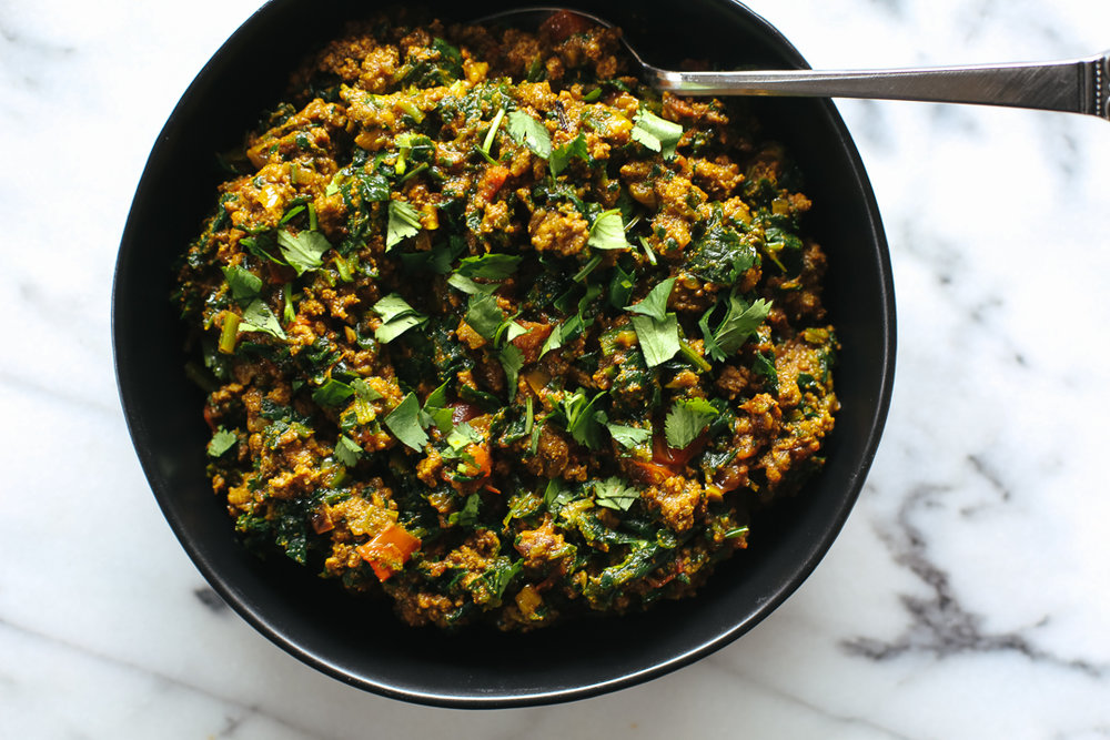 Paleo Palak Keema Recipe via Worthy Pause