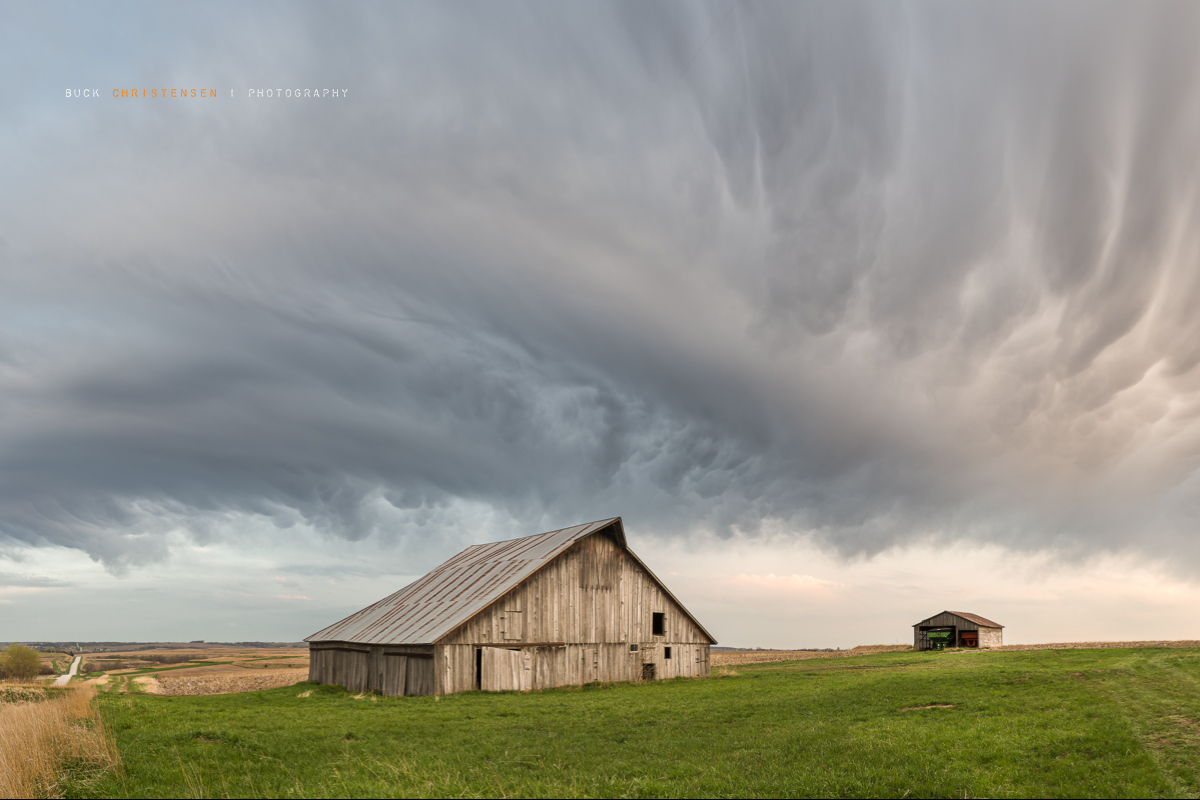 'faith in nails' storm clouds over barn, Mineola, Iowa