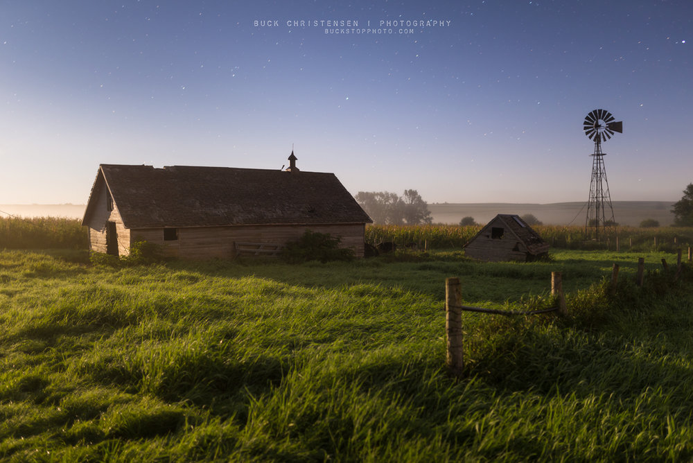Barn, windmill, and stars in rural Iowa.