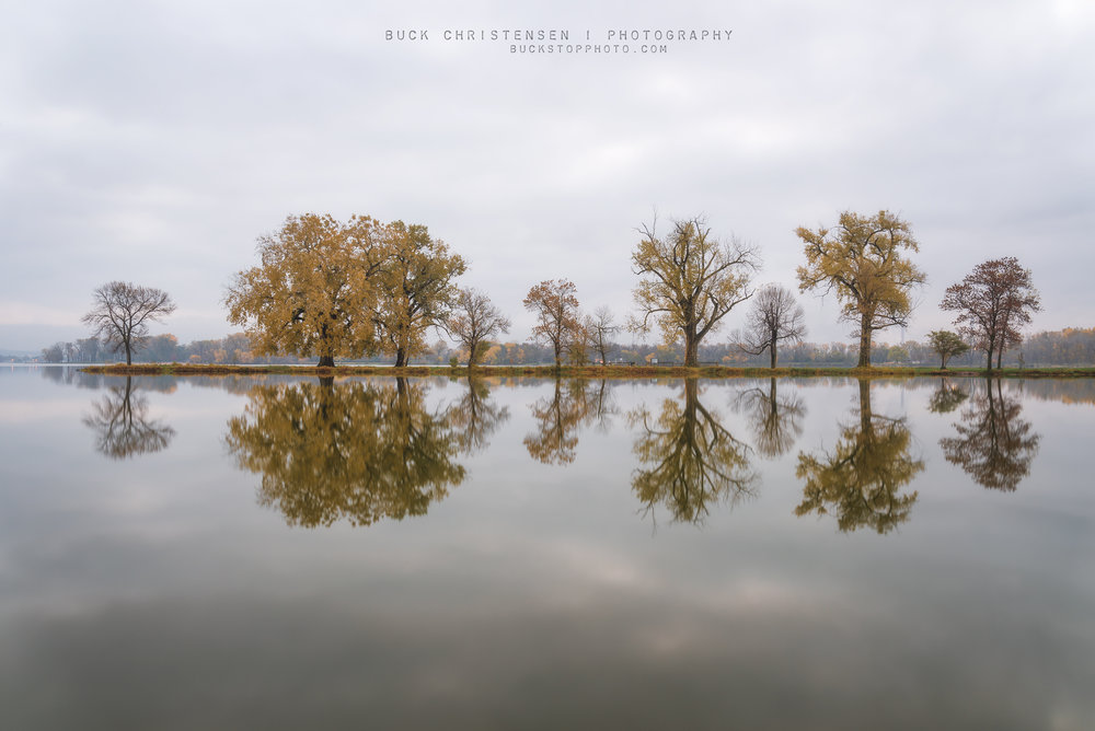 Boy Scout Island in autumn, Lake Manawa State Park, Council Bluffs, Iowa.