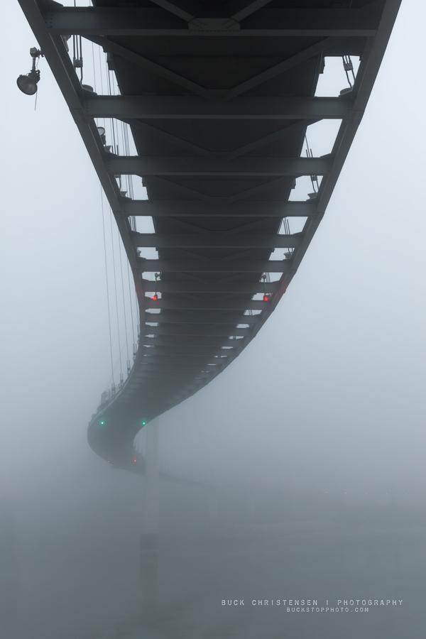 Bob Kerrey Pedestrian Bridge in fog, Omaha, Nebraska, Council Bluffs, Iowa.