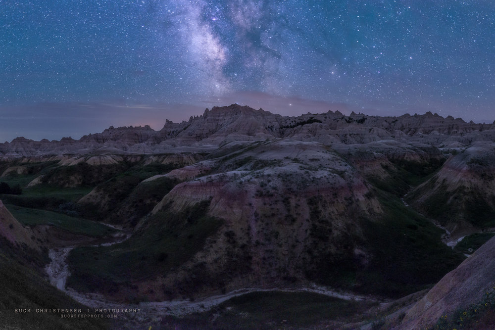 Milky Way over Yellow Mounds, Badlands National Park, South Dakota.