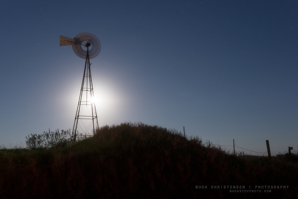 Windmill and supermoon in Council Bluffs, Iowa.