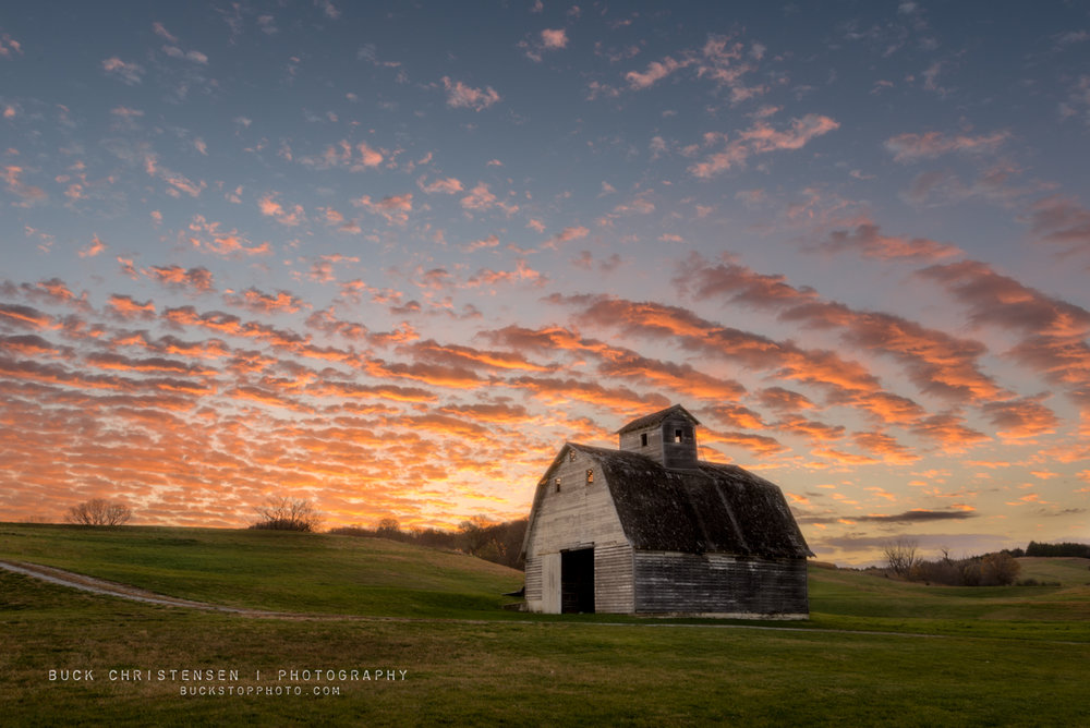 Barn at sunrise in Council Bluffs, Iowa