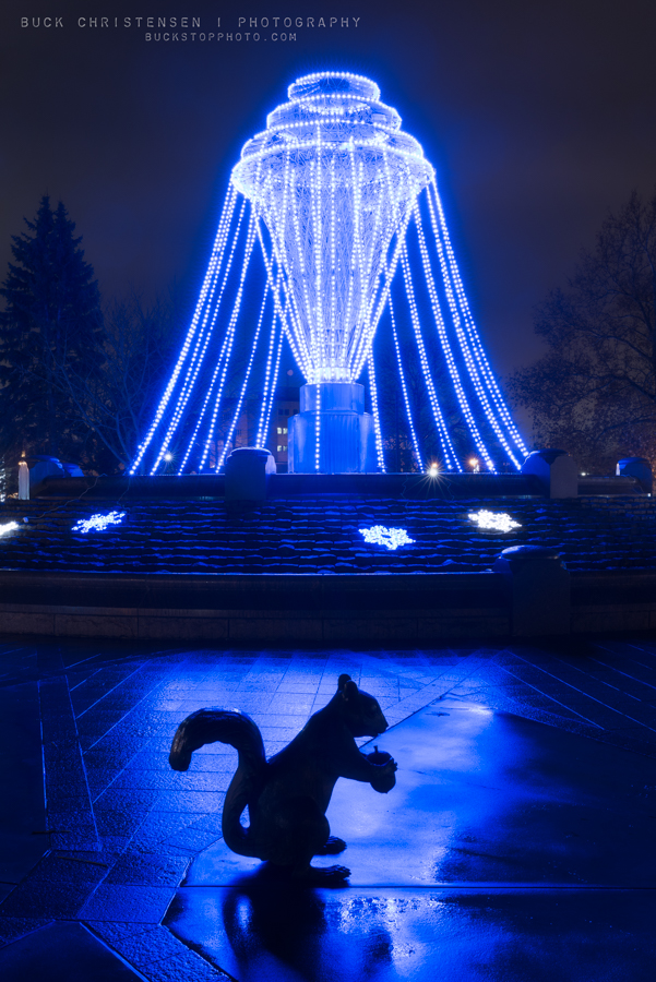 Black Squirrel and Christmas Lights on Bayliss Park Fountain, Council Bluffs, Iowa: Bayliss Blues