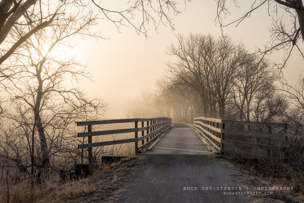 wabash trace bridge along taco ride in the fog, mineola, iowa