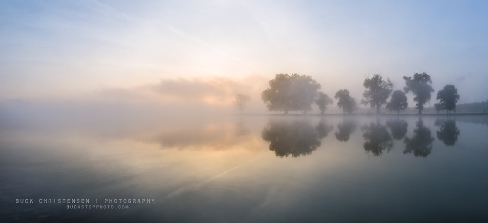 Boy Scout Island in the fog at sunrise, Lake Manawa State Park, Council Bluffs, Iowa.