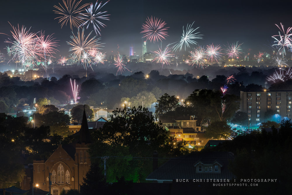Fireworks over Council Bluffs, Iowa, and Omaha, Nebraska on July 4th (Independence Day).