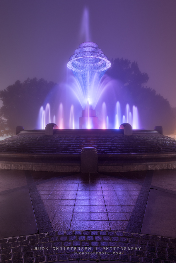 fountain at bayliss park in the fog, council bluffs, iowa
