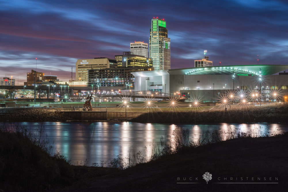 Downtown Omaha, Nebraska, as viewed across the Missouri River from Council Bluffs, Iowa