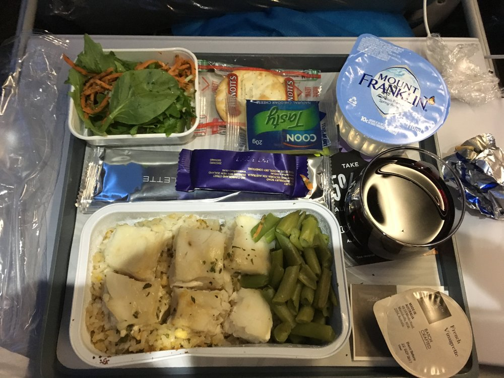 Dinner Economy Class Sydney Honolulu