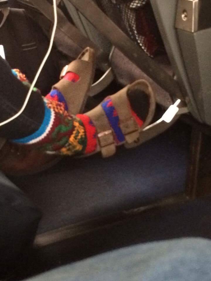 Jasons hand nitted pair of socks.