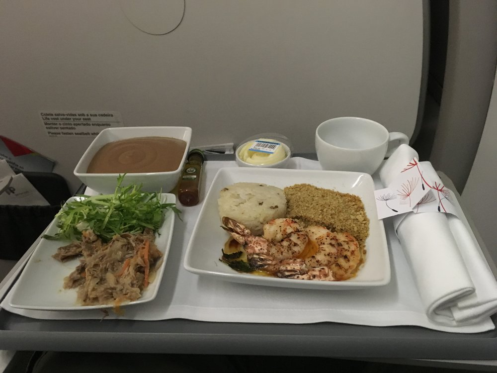 Sauted Shrimp on the flight Lisbon - Frankfurt