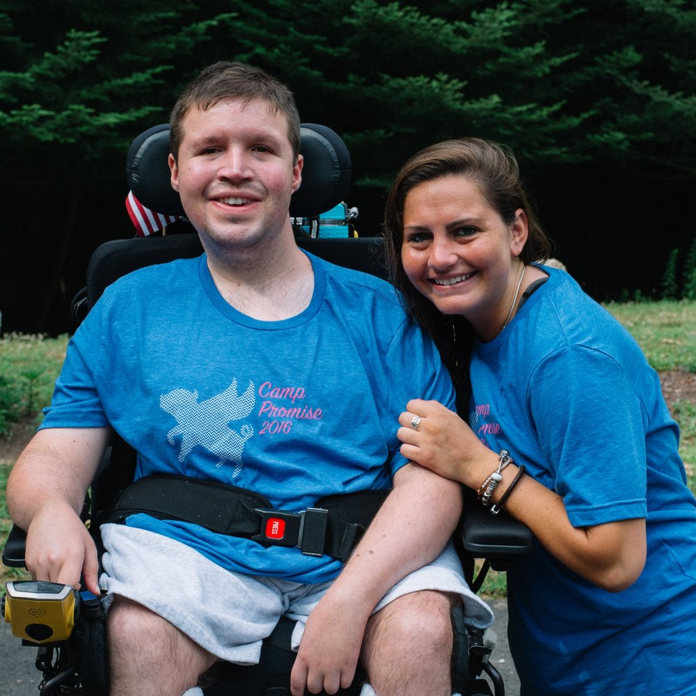 Anthony with his counselor on Camp T-Shirt Day.  Camp Promise-East, 2016