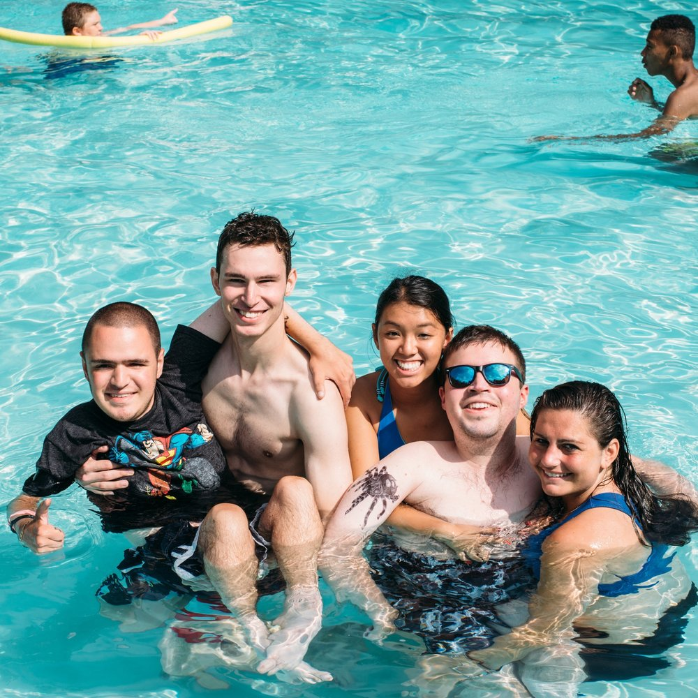 Swimming with friends in our outdoor pool.  Camp Promise-East, 2016