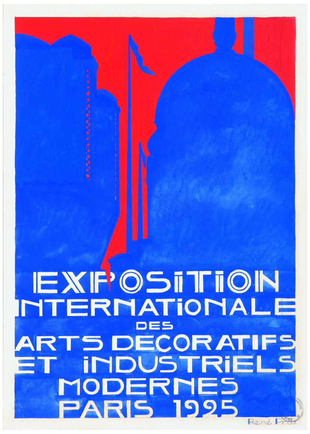 Projets d'affiches signés René Prou pour l'Exposition de 1925. Papier cartonné, gouache, mine de plomb, encre. MAD, Paris.
