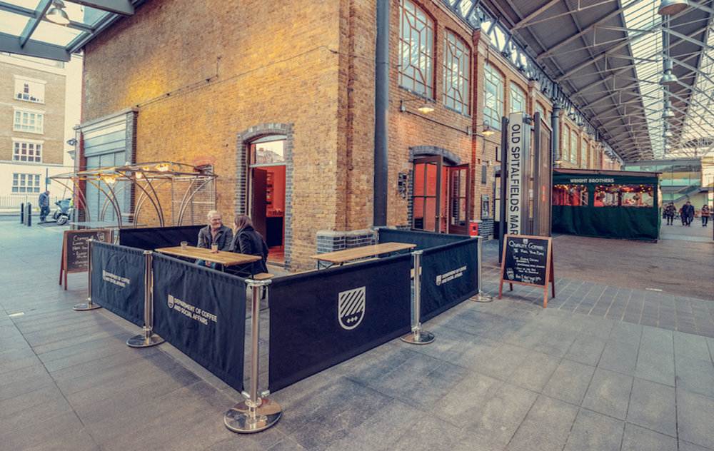 Located in the buzzing Spitalfields Market, an area of London known for its spirit and strong sense of community.