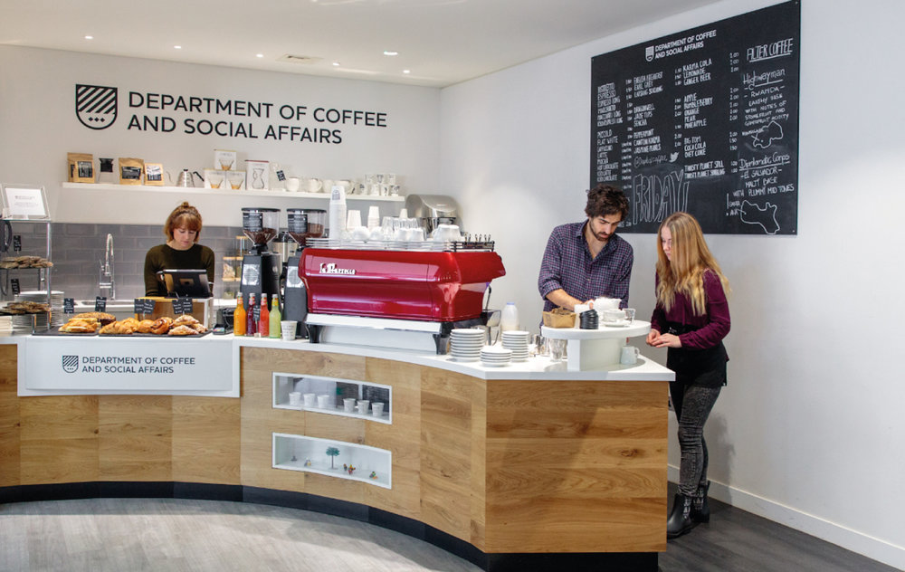 In the HQ of JLL, one of the world's largest property surveyors, Department of Coffee runs two speciality coffee shops for their 1200 staff and clients.