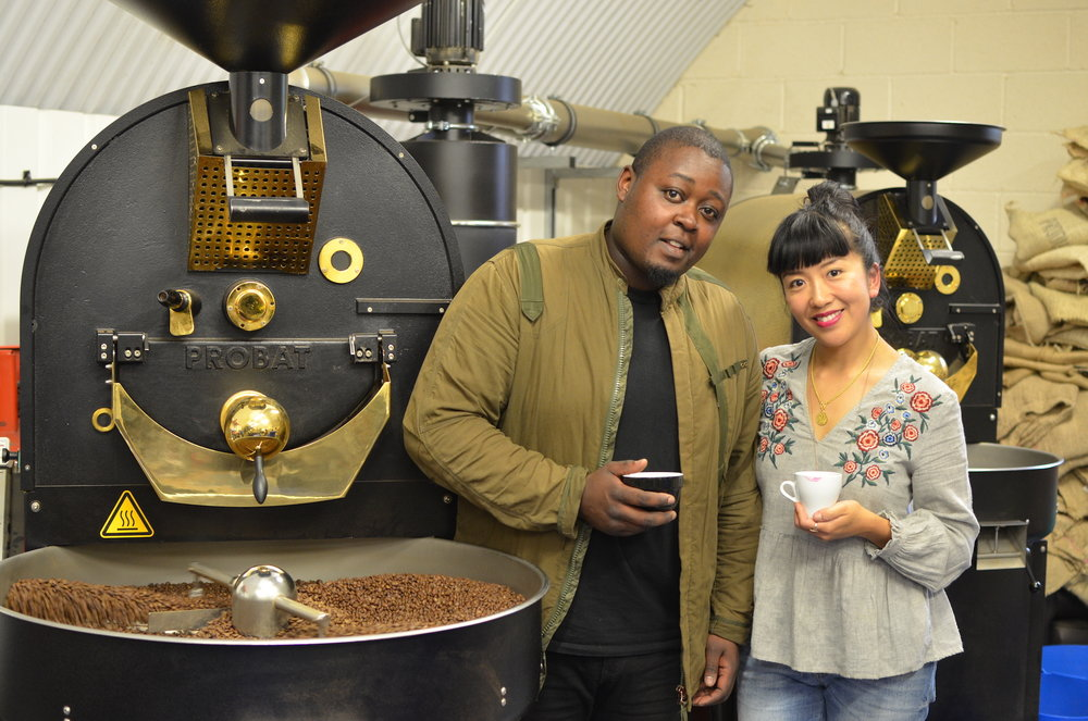 Our Head Roaster, Dumo Mathema and The Girl In The Cafe at our roastery