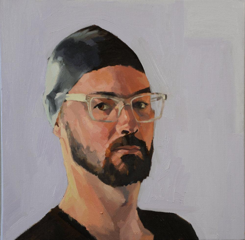 Self Portrait in a Swimming Cap - 12x12 - Oil on Linen - 2017