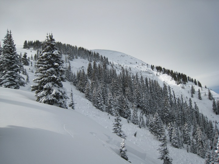 Large avalanche in Seven Utes drainage, encircled entire upper valley