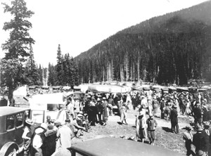 Road goers celebrating the opening of the road over Cameron Pass, the first direct connection of North Park and the Front Range.