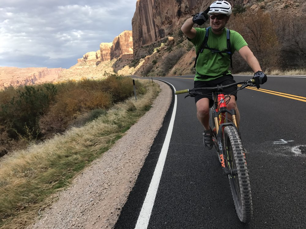 Eric giving the thumbs on the way to beer in Moab!