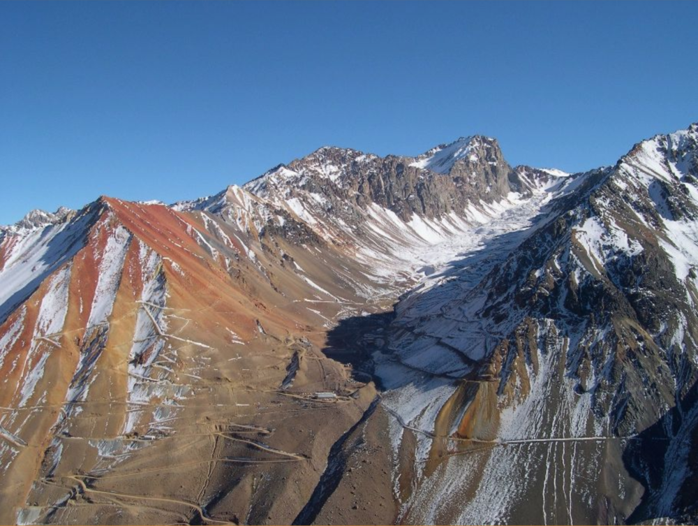 Pimenton Mine valley in Chile, situated below, or in, many avalanche paths.