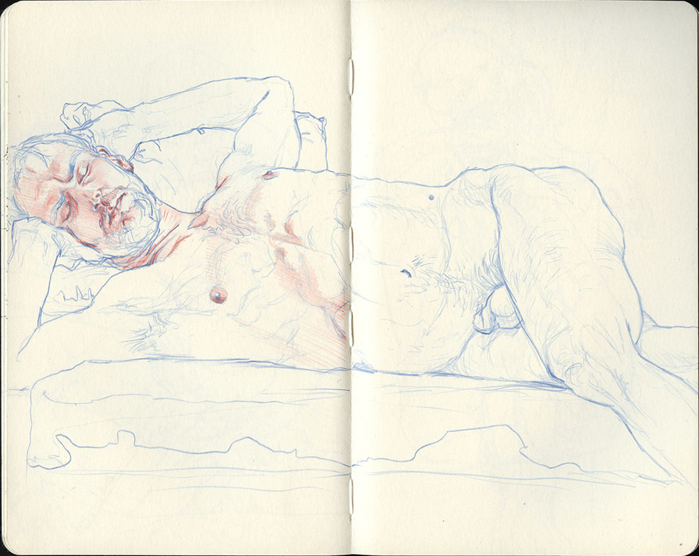 "10"" x 8"" Blue and red colored pencil in Moleskine sketchbook. 2016"