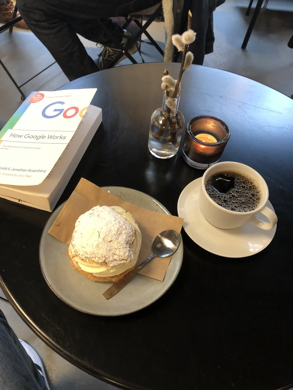 Semla Swedish - Delicious bun while sipping a coffee and reading a book …. meanwhile outside -6 and snowing. Life is good 😉