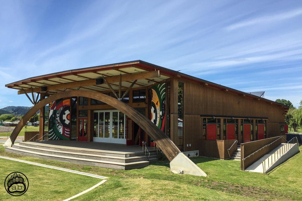 "New Zealand. Taneatua, Te Urewera, North Island. December 14, 2015. As part of the Treaty Settlement process with the New Zealand Crown in 2014, the Tuhoe Maori fulfilled a vision to create a ""living building"" (Te Kura Whare) that represents their values to the world by closing the door on past grievances and moving forward into the future in a positive way that gives credence to their values and principles."