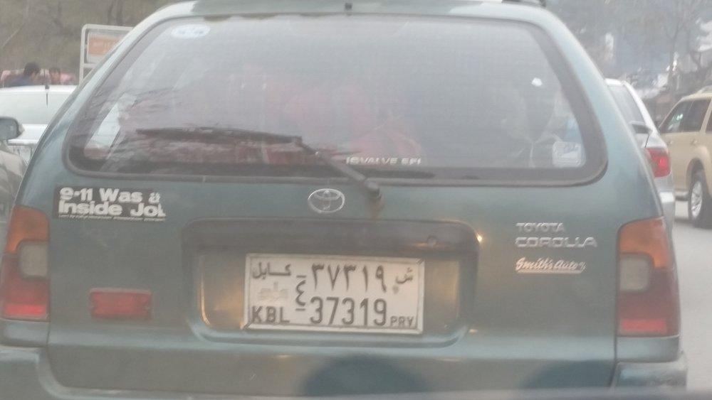 Bumper sticker in Kabul