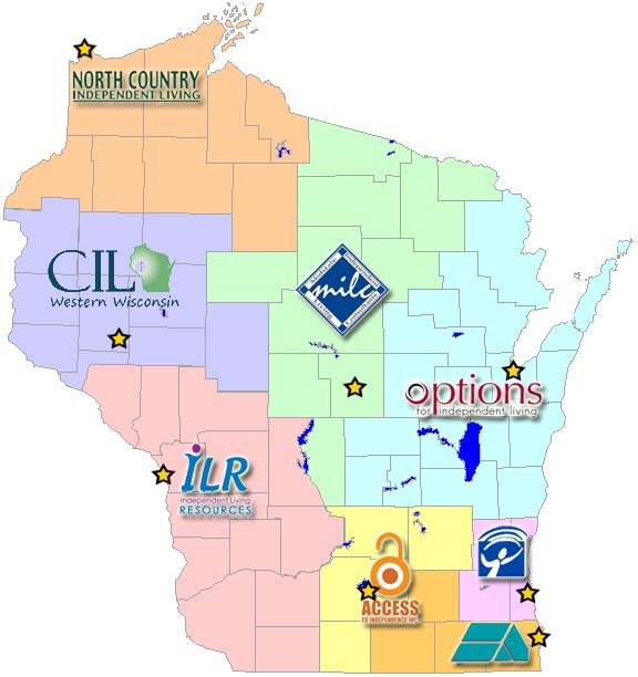The 8 ILC's in Wisconsin are listed; click on each for more information: - Access to IndependenceCIL for Western WisconsinIndependence FirstIndependent Living ResourcesMidstate Independent Living ConsultantsNorth Country Independent LivingOptions for Independent LivingSociety's Assets