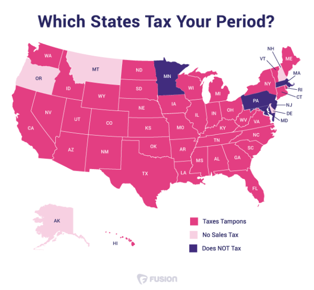 "June 2015 ""tampon tax"" map / Splinter News"