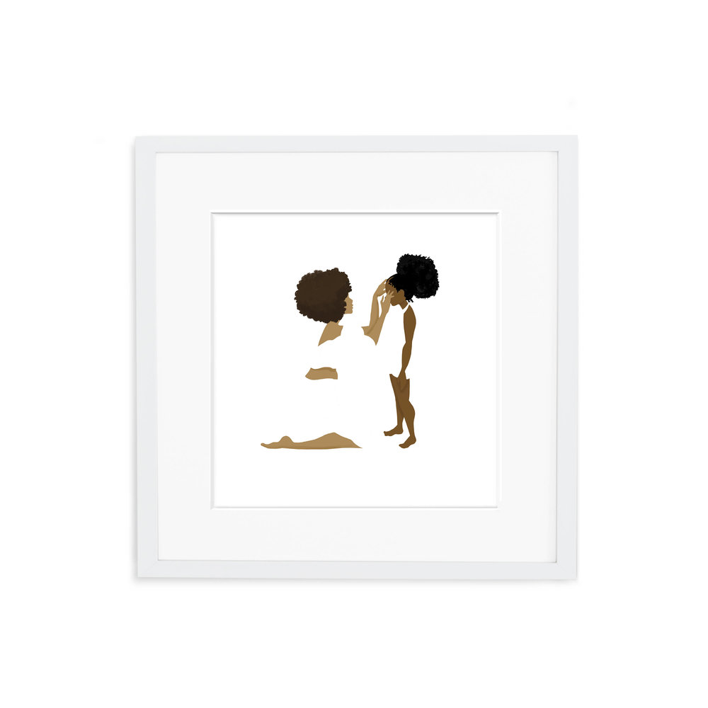 "We love - This digital print of Debra Cartwright's illustration ""Mother."""