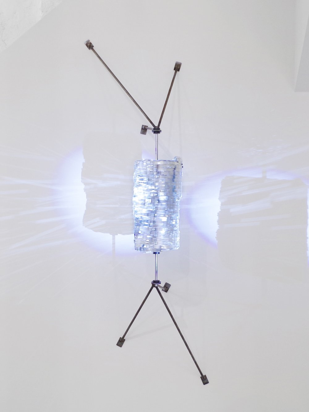 Parallel Universe (Prayer Wheel), Steel, plaster, mirrors, light, 51 x 23 x 15, 2016.jpg