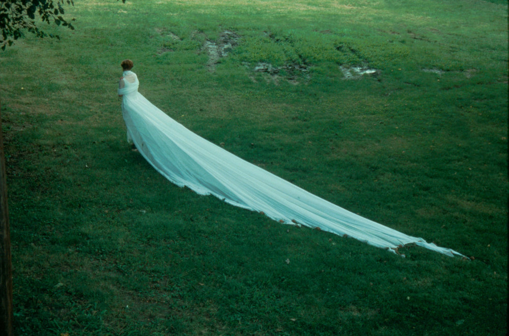 Wish   performance, Southmoreland Park, Kansas City, MO  1993  Time Keeper, 20' dress, 50 pounds of gilded pears;  Wish  performance, Southmoreland Park, Kansas City, MO  1993