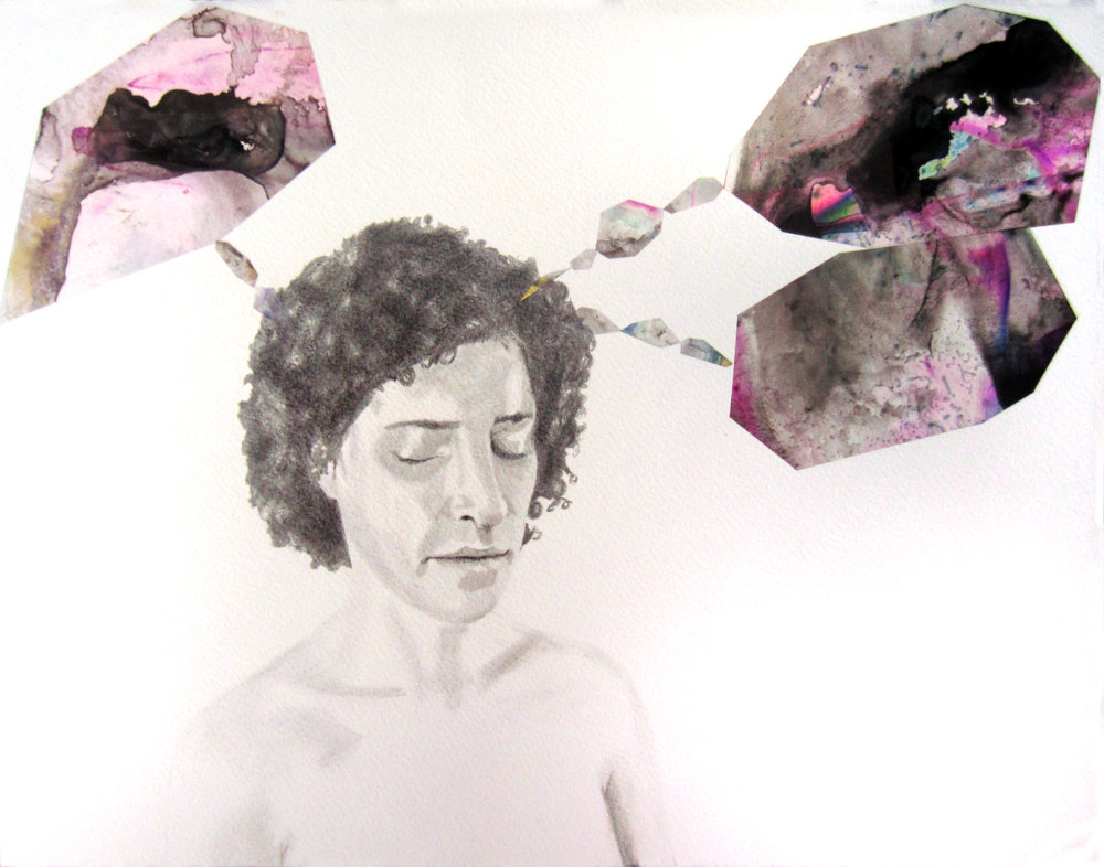 "Arden - Balancing   Pencil on paper, ink on mylar, 11 x 14""  2014"