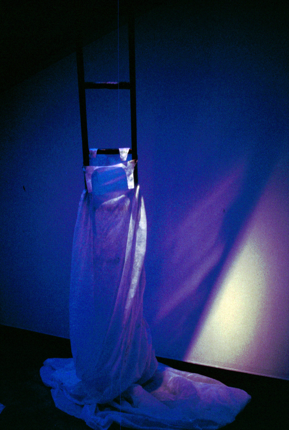 Disembodied   installation, Hewlett Gallery, Pittsburgh, PA  1996  Five 14' - 22' ladders and dresses, charred and in various states of collapse, ashes, sound piece