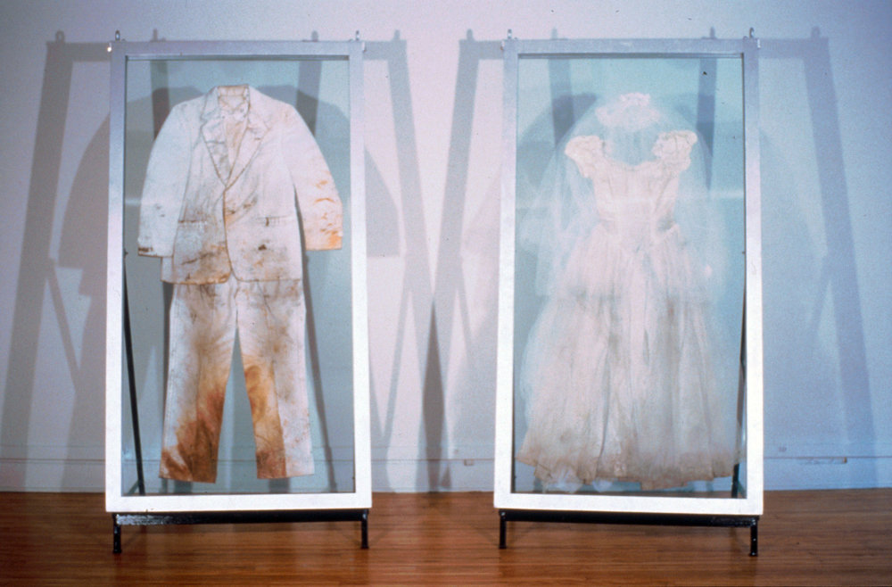 Week of Wearing White   Leah and Colin Piepgras Performance, Pittsburgh,PA  Wedding dress and tux worn for 7 days.   handmade wedding dress and tuxedo, dirt, oak frames, silver leaf, plexiglass, 68 x 40 x2""