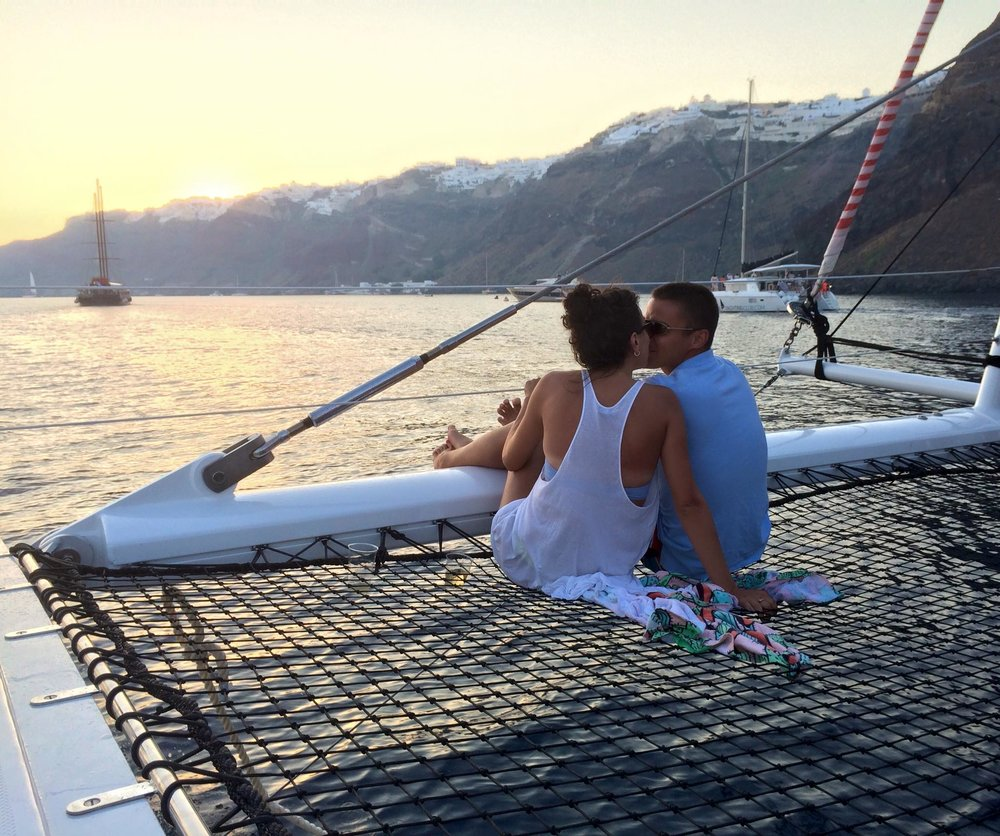 Sunset Kiss on a Catamaran