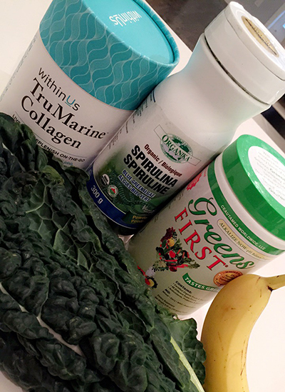 Collagen, Spirulina, Kale, Banana