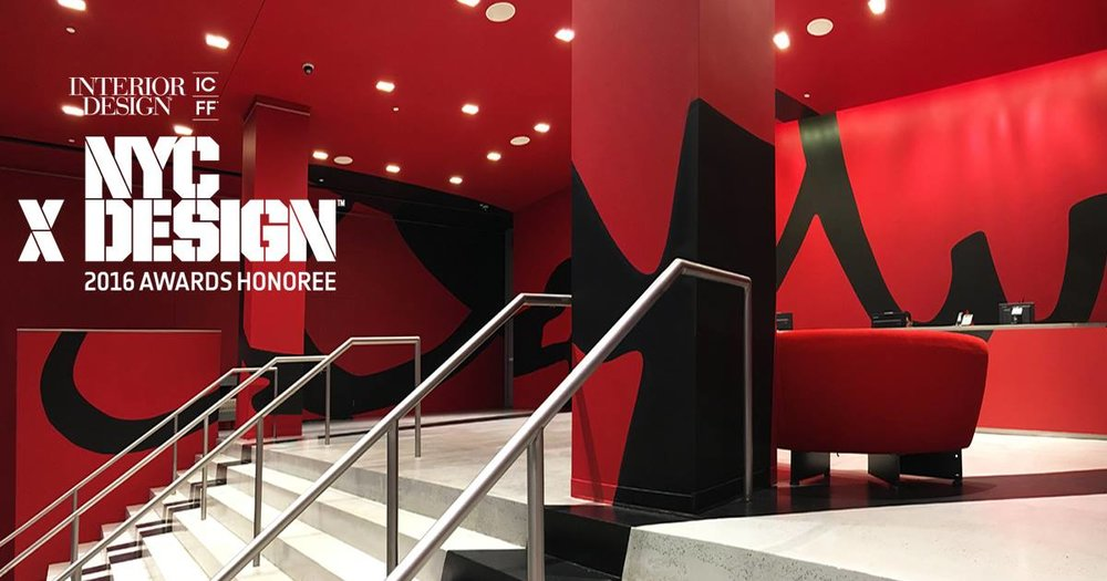 """A lobby is the first impression you get of a company… This one was embodied as a huge brand stamp that says: """"This building is us; come inside and be part of our world"""". SEE THE WORK"""
