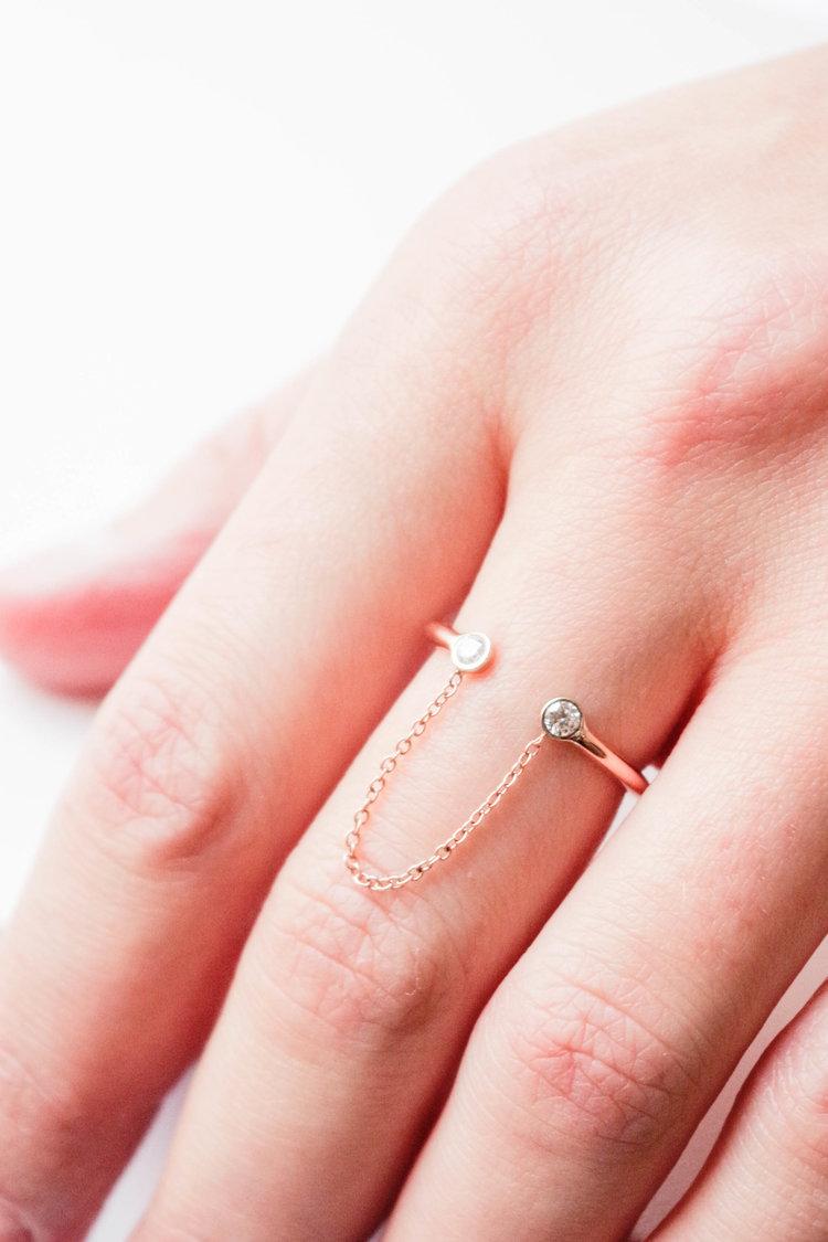 Cristina Diamond Chain Ring — PoesyNYC