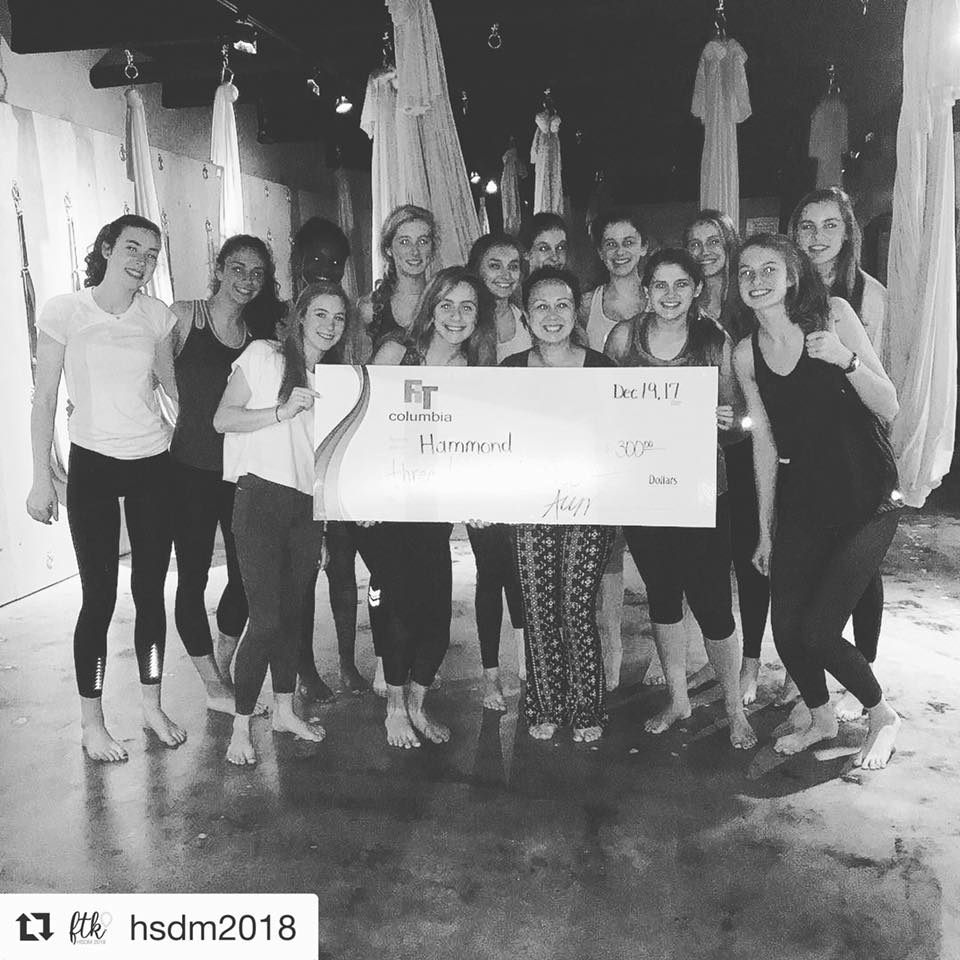 $300 for Palmetto Health Children's Hospital - Hammond Dance Marathon participants came to out to play in the aerial silks in order to raise money!