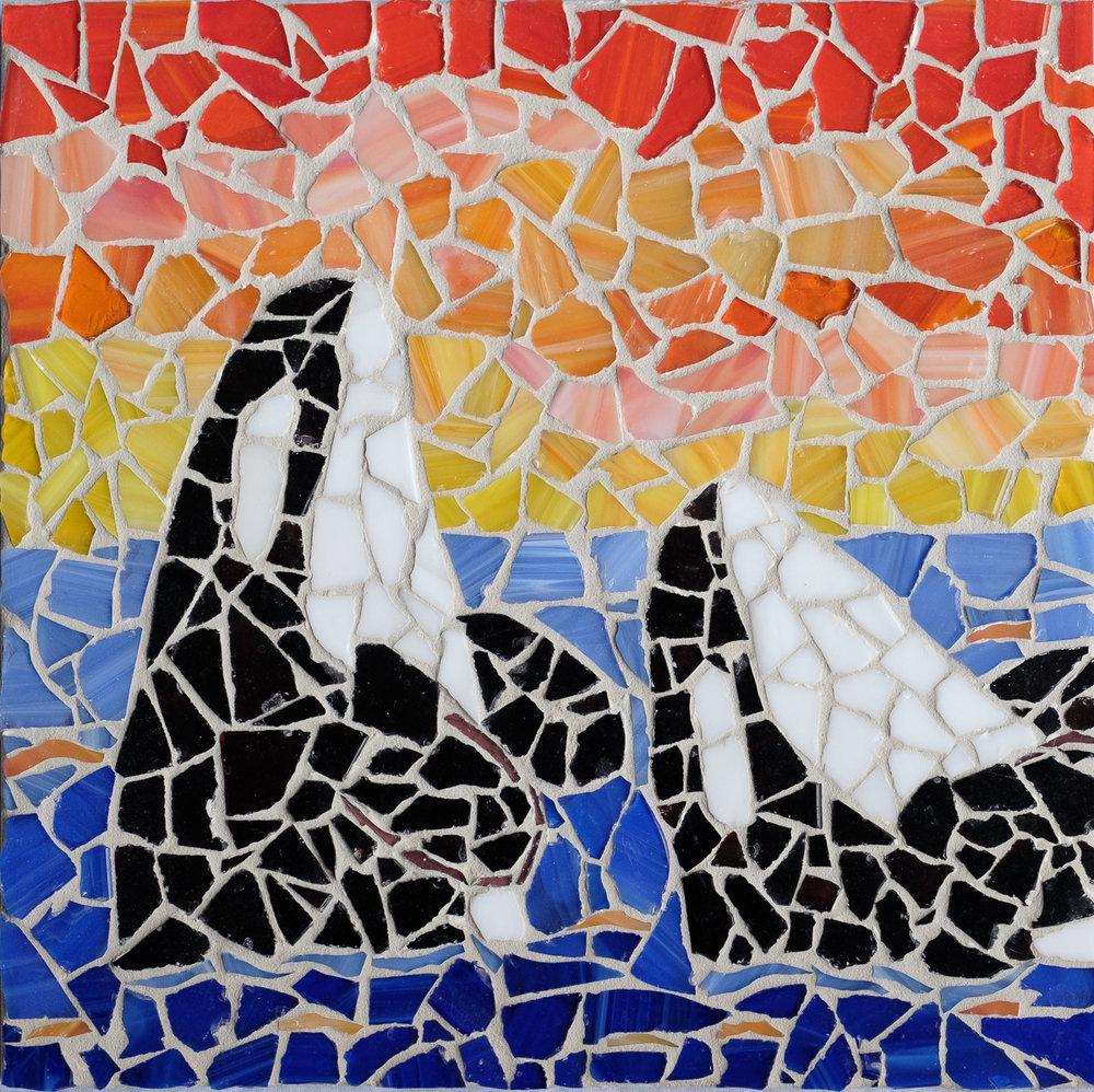 Sunset Orca Mosaic