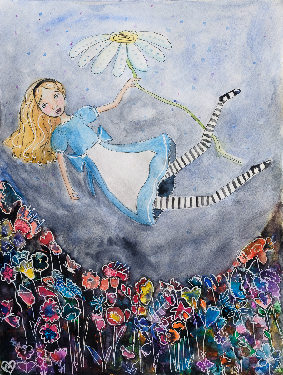 Alice Falling into the Flower Garden