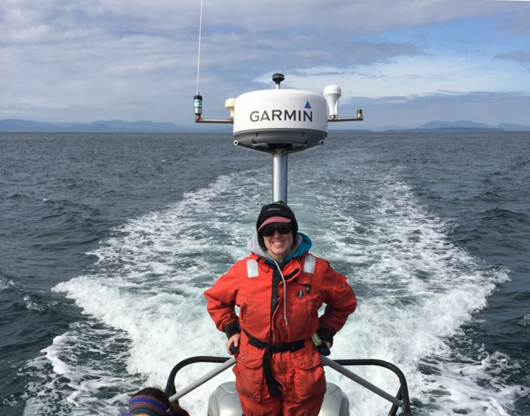 Me volunteering on a whale research boat in the San Juan Islands.