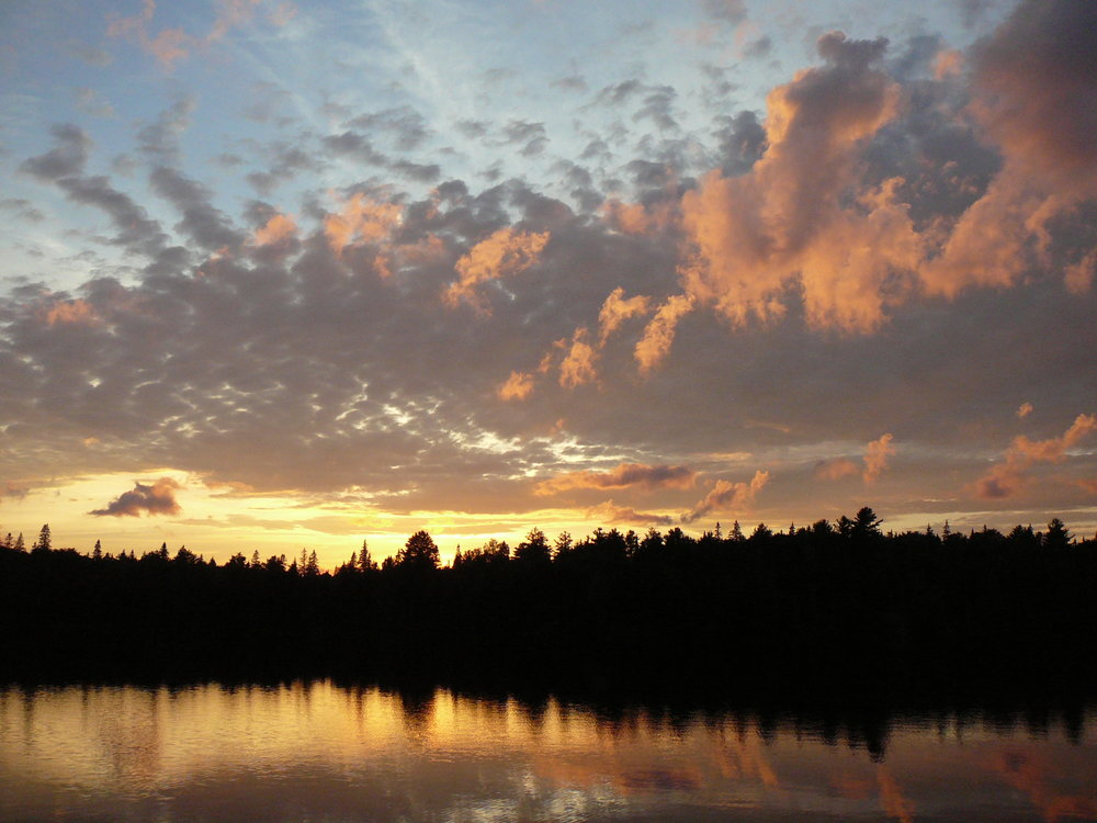 Photo of Little Doe Lake sunset from our site.